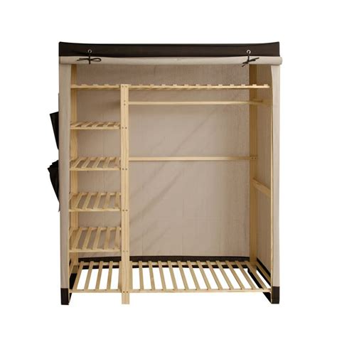 polycotton and wood wardrobe black