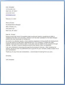 Cover Letter Sle by Sales Manager Cover Letters Resume Downloads