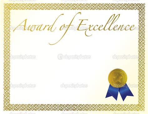 Illustration Of A Certificate Award Of Excellence With Golden Ribbon Ribbon Award Template