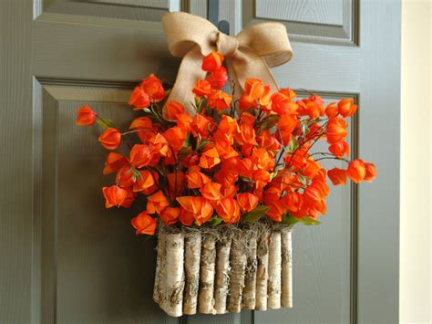 Front Door Wreaths For Fall Fall Wreath Fall Wreaths Orange Front Door Wreath By Aniamelisa