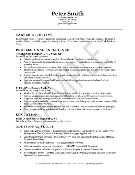loan officer resume exle resume exles