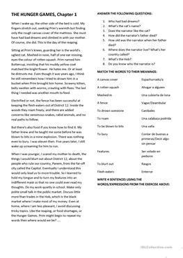 6 FREE ESL Hunger Games worksheets