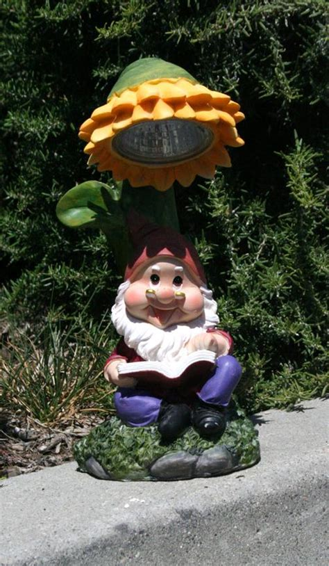 Gnome Solar Lights Garden Gnome With Colorful Sunflower Solar Light