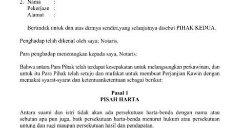 contoh surat perjanjian perkawinan dengan 8 pasal