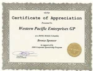 certificate of appreciation for sponsorship template awards and achievements western pacific enterprises