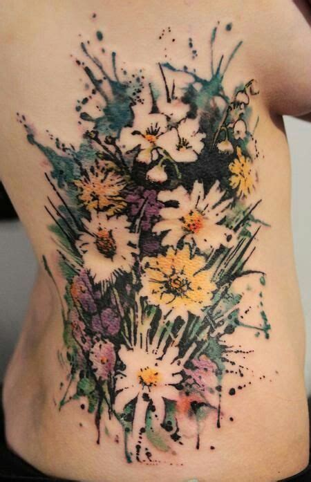 watercolor tattoo wildflowers flowers bouquet ideas ribs