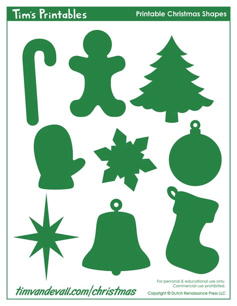 printable christmas shapes christmas shape templates