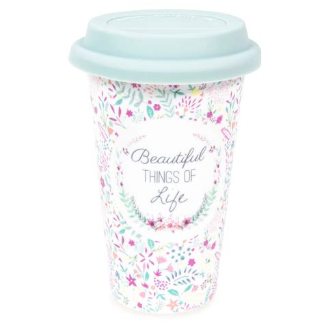 mug de voyage en porcelaine motifs fleurs beautiful