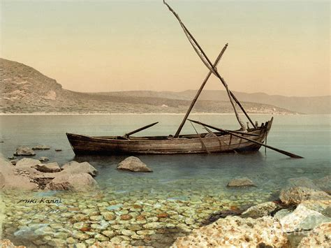 fishing boat in jesus time the jesus boat at the sea of galilee painting by miki karni