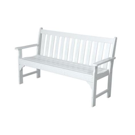 white porch bench polywood vineyard 60 in white patio bench gnb60wh the home depot