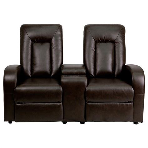 theater reclining chairs flash furniture 2 seat home theater recliner in brown 484604