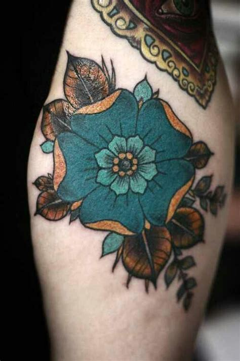 aqua flower tattoos and photo turquoise flower tattoos beautiful