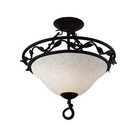 Wrought Iron Ceiling Light Fixtures Matte Black Wrought Iron Semi Flush Ceiling Light Fixture Ebay