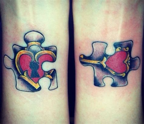 couple puzzle tattoo and lock puzzle