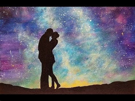 watercolor tutorial night sky easy galaxy acrylic painting quot lovers under a starry night