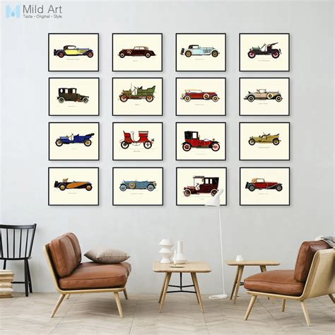 4 decor ideas stolen from hipster cafes home decor modern famous vintage retro car collection a4 large art