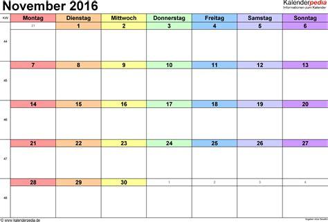 Vordruck Kalender 2016 Kalender November 2016 Als Pdf Vorlagen