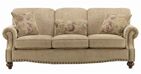 Bassett Club Room Stationary Sofa With Nail Head Trim