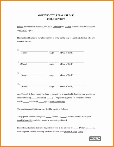 Child Support Agreement Template Best Business