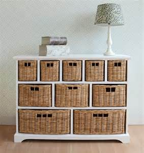 Tetbury wide storage chest with wicker baskets bedroom