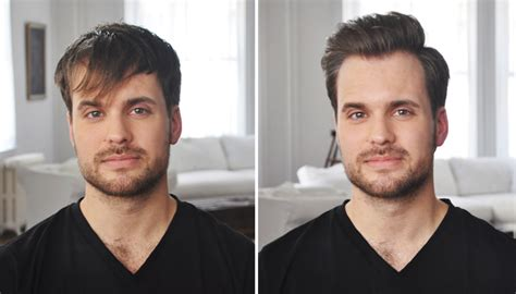 before and after thinning mens haircut quiff hairstyle tutorial how to cut and style a quiff
