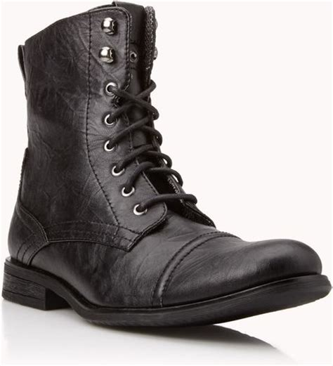 21men crinkled faux leather combat boots in black for