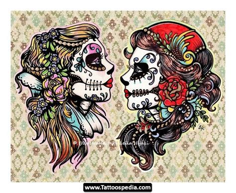 flash art tattoos sugar skull flower school