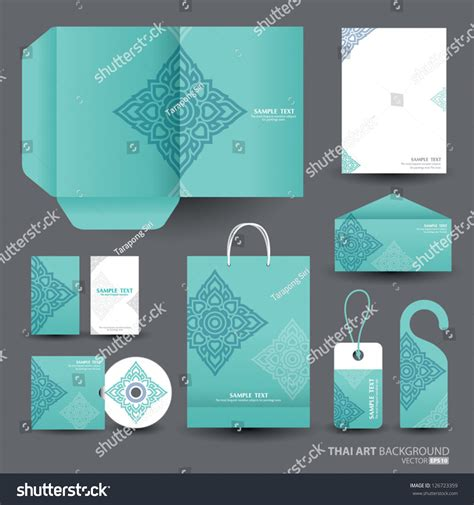 stationery layout vector stationery design set vector format thai stock vector