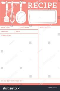 recipe card kitchen note template stock vector 146804381