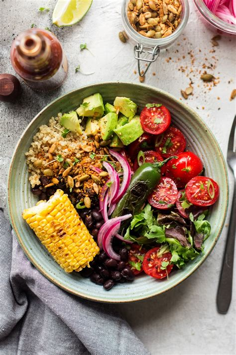 mexican lunch bowl with spicy crumb lazy cat kitchen