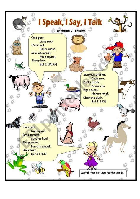 speak    talk animal sounds esl worksheet  anna p