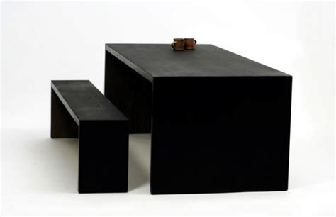 Thermochromic Table by A Wooden Table With Matching Bench Reacts To