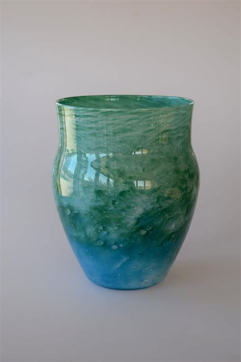 Whitefriars Glass Vase Cloudy Blue And Green Urn Shaped Vase In 20th Century Glass