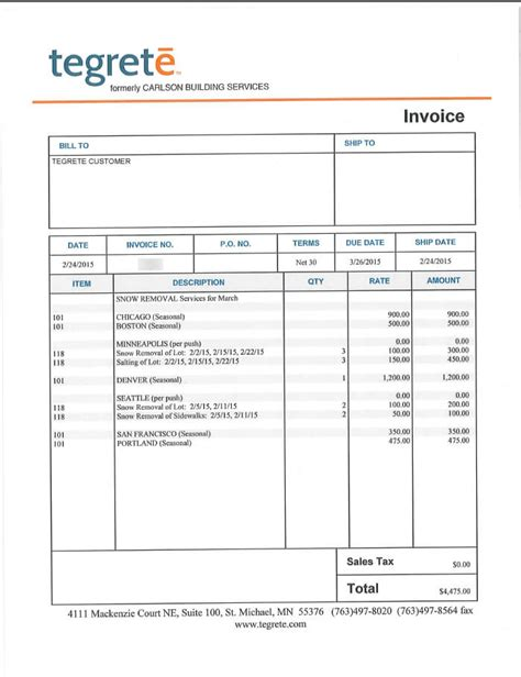 snow plowing invoice template snow plowing invoice