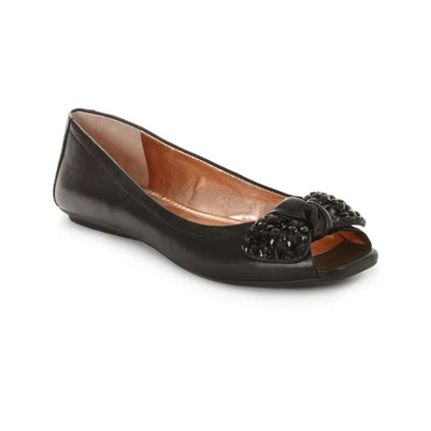 peep toe flat shoes bcbgeneration channah peep toe flats in black lyst