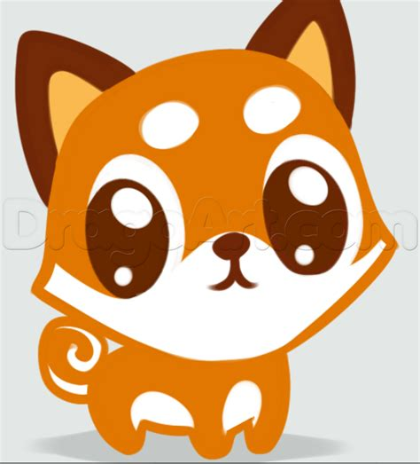 make a drawing how to draw chibi shibe doge step by step characters
