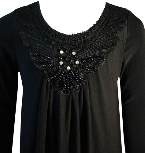 black beaded diamante floral lace embroidery