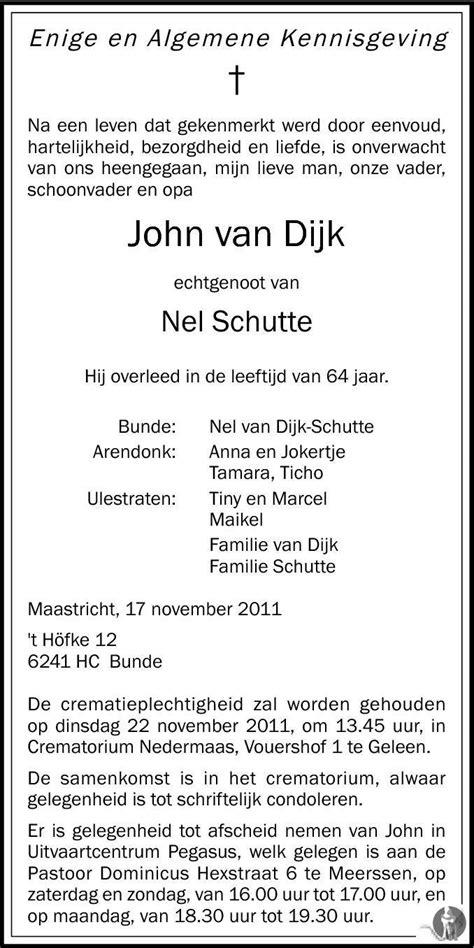 John van Dijk 17-11-2011 overlijdensbericht en