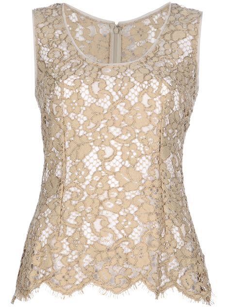 Lace Top Tank Top Bahan Lace dolce gabbana lace tank top in beige lyst