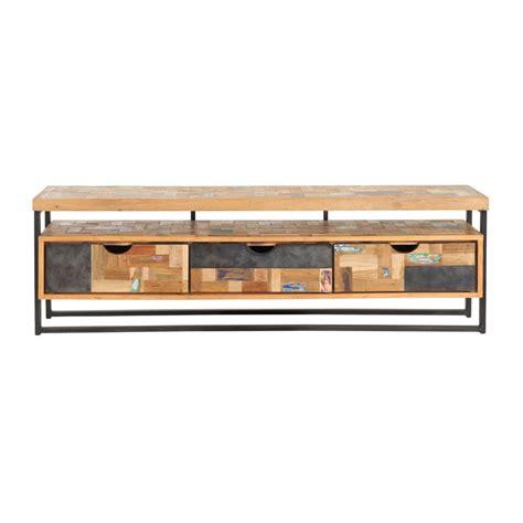 tv meubel van hout d bodhi carbon industrieel tv meubel van hout