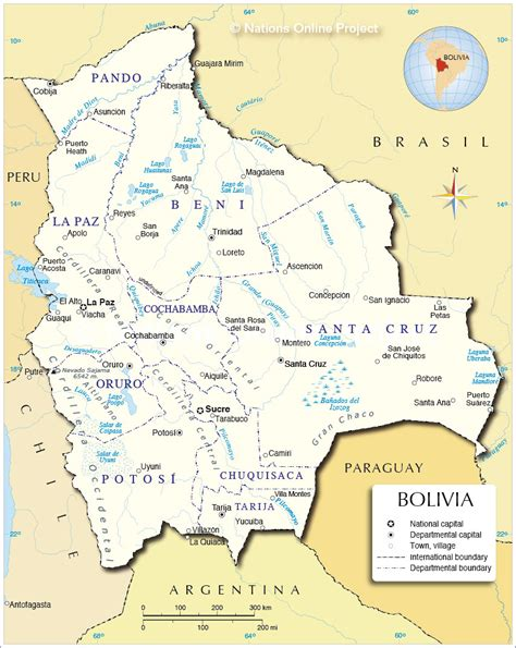 map of bolivia administrative map of bolivia nations project