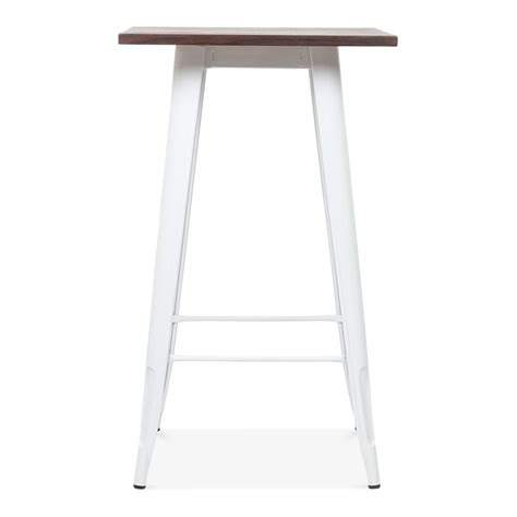 Metal Bar Table Tolix Style Metal Bar Table With Wood Top White 102cm Cult Uk