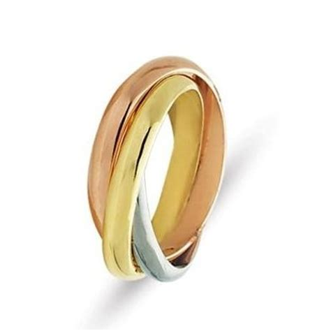 211181e 18 kt tri color gold russian ring wedding band