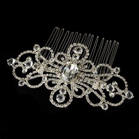 plated rhinestone swirl bridal comb