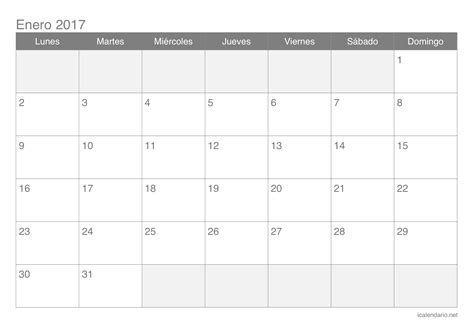 plantilla calendario enero 2017 calendario enero 2017 para imprimir icalendario net