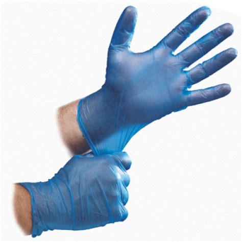 Kitchen Gloves Blue Vinyl Powdered Gloves Box Of 100 Mobility Care