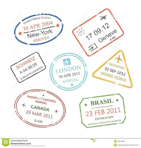 Visa Gift Card International Travel - international business travel visa sts set stock vector image 45644859