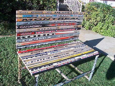 hockey stick bench hockey stick bench useless broken hockey sticks turned int flickr