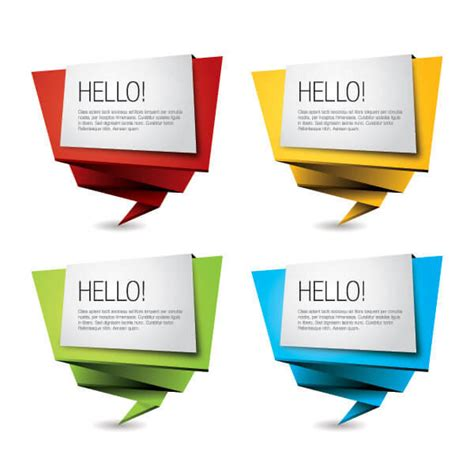 Origami Signs - colorful origami paper banners vector illustrator
