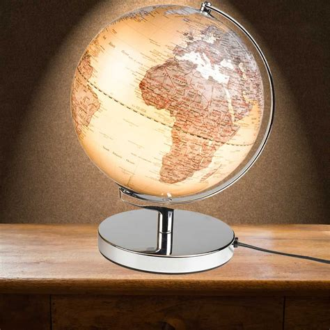 light up world globe electrical sliver illuminated globe light in an art deco